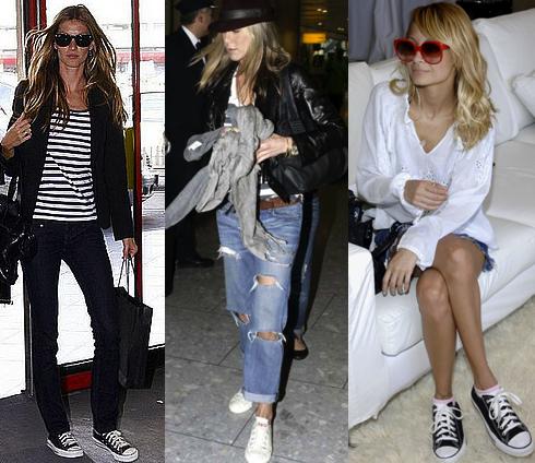 Celebs rock Converse Giselle Bunchen, Kate Moss, Nicole Richie (image: wearareyougoing)