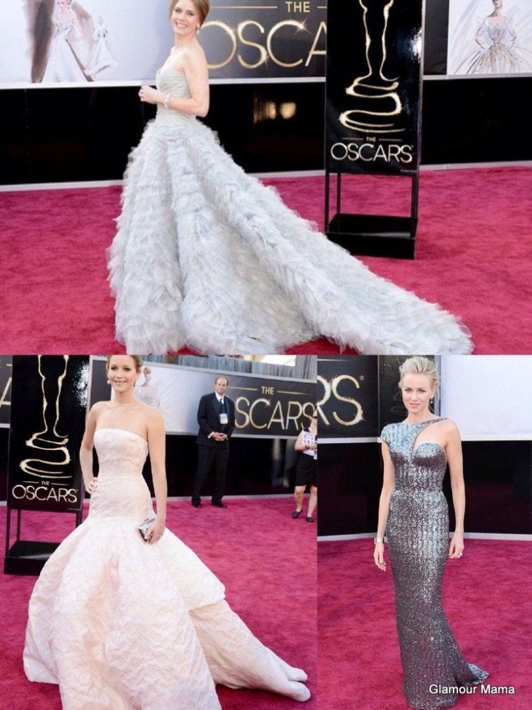 Clockwise from Top: Amy Adams in Oscar de la Renta, Naomi Watts in Armani Privee, Jennifer Lawrence in Dior Couture